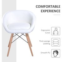 HOMCOM Faux Leather Lounge Padded Chic Dining Chair Living Room Furniture