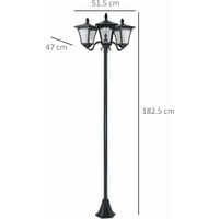 Outsunny 1.8M Stainless Steel Outdoor Solar Light with Base Post Lamp Dimmable - Black
