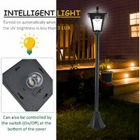 Outsunny 1.6M Stainless Steel Outdoor Solar Light with Base Post Lamp Dimmable - Black