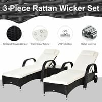 Outsunny Recliner Bed Chair Rattan Lounger Set Wicker Side Table - Black