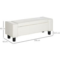 HOMCOM Ottoman Storage Chest Faux Leather Stool Bench Seat Bedding Blanket Box Home Furniture (White)