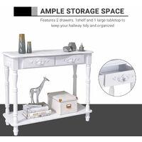 HOMCOM Console Table 2 Drawer Hallway Desk Wooden Storage Shelf Living Room Furniture White