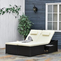 Outsunny 2 Seater Rattan Sun Lounger Recliner Day Bed Wicker Weave Furniture Sofa - Mixed Brown
