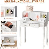 HOMCOM Dressing Table Vanity Make-Up 4 Drawers Dividers Console - White