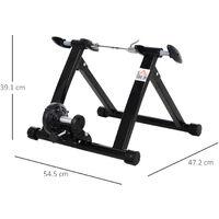 HOMCOM Quiet Indoor Bicycle Magnetic Foldable Turbo Trainer - Black, 26 - 27 Inch