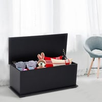 HOMCOM Chipboard Storage Box Chest Trunk Wooden Container with Lid - Black