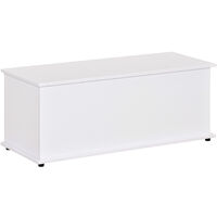 HOMCOM Chipboard Storage Box Chest Trunk Wooden Container with Lid - White