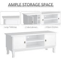 HOMCOM MDF TV Stand Unit Corner Table Media Cabinet Home Office Modern Eco-friendly Ivory White