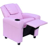 HOMCOM Kids Children Recliner Lounger Armchair Games Chair Sofa Seat PU Leather Look w/ Cup Holder (Pink)