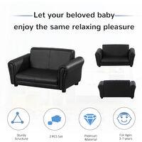 HOMCOM 2 Seater Kids Twin Sofa Double Seat Chair Armchair w/ Footstool - Black
