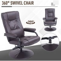 HOMCOM Executive Recliner Chair High Back Swivel Armchair Lounge Seat w/ Footrest Stool (Brown)