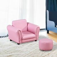 HOMCOM Single Seater Kids Sofa Set Children Couch Armchair w/ Free Footstool - Pink