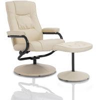 HOMCOM Executive Recliner Chair High Back Swivel Armchair Lounge Seat w/ Footrest Stool (Cream)