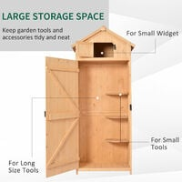 Outsunny Pine Cedarwood Garden Shed Tool Room Storage House Spire Roof - Burlywood