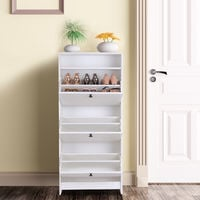 HOMCOM Shoe Storage Cabinet Footwear Organiser Rack Space-saving w/ 3 Drawers - White