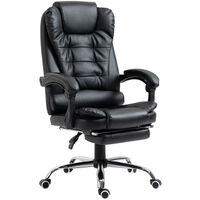 HOMCOM Executive PU Leather High Back Recliner Swivel Office Chair with Retractable Footrest (Black)
