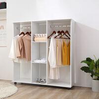 HOMCOM Mobile Open Wardrobe Storage Shelves w/6 Wheels Clothes Hanging Rail - White