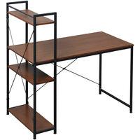 HOMCOM Computer Desk Laptop Table Workstation Home Office 4-tier Bookshelf - Walnut & Black