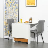 HOMCOM Folding Dining Table Mobile Writing Desk Workstation w/ Casters Teak - Colour & White