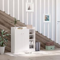 HOMCOM Shoe Storage Cabinet Footwear Rack Stand Organiser Hallway Adjustable - White