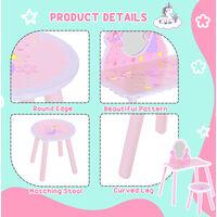 HOMCOM Girls Pink Wooden Kids Dressing Table & Stool Make Up Desk Chair w/ Mirror