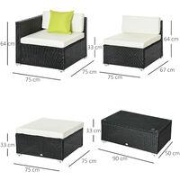 Outsunny 5PC Rattan Furniture Set Garden Sectional Wicker Sofa Tea Table - Black