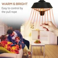 Outsunny 2100W Outdoor Ceiling Mounted Halogen Electric Heater Patio Warmer Light - Black