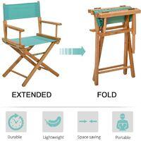 HOMCOM Beech Wooden Folding Director Chair Oxford Fabric Seat for Garden - Green