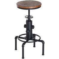 HOMCOM Pine Wood Steel Bar stool Swivel Chair Kitchen Adjustable W/Footrest - Brown