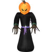 HOMCOM 2.1m Inflatable Pumpkin Ghost Head Monster Vampire 6 LED Lights Halloween