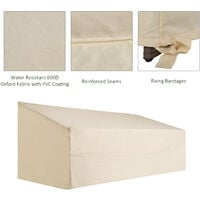 Outsunny 600D Oxford Cloth Furniture Cover 3 Seat Sofa Protector Large Waterproof Beige 218Lx111Wx63-101Hcm