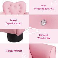 HOMCOM Sponge PVC Kids Mini Sofa Children Armchair Seating Chair Girl Princess - Pink