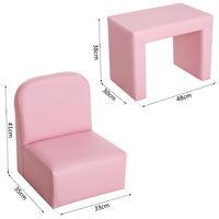 HOMCOM Kids Mini Sofa 3 In 1 Table Chair Set Children Armchair Seat - Pink