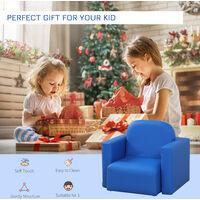 HOMCOM Kids Mini Sofa 3 In 1 Table Chair Set Children Armchair Seat - Blue