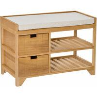 HOMCOM Entryway Storage Shoe Bench Slatted Rack Drawer Organiser Cushioned Seat Wooden 69L x 34W x 48H cm