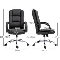 Vinsetto Executive High Back Office Chair Ergonomic Adjustable Computer 360° Swivel PU Leather Seat Black