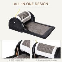PawHut Cat Scratching Pad Board Mat Kitten Pet Roller Perches Platform Grey