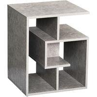HOMCOM 3-Tier Side End Table Open Shelves Storage Coffee Desk - Cement Colour