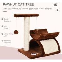 Pawhut Cat Tree Scratching Post Kitten Scratcher Sisal Rotatable Top Bar Tunnel Dangling Ball