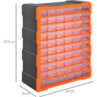 60 Drawers Parts Organiser Wall Mount Storage Cabinet Tools DURHAND - Orange