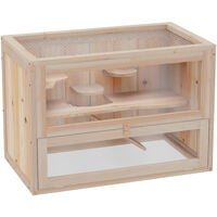PawHut Wooden Hamster Cage Mouse Small Animals Hutch 60 x 35 x 42cm
