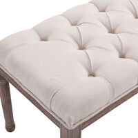 """HOMCOM 56"""" Chic Button Tufted 3 Person Stool Bench Bedside Vintage Solid Wood Beige"""