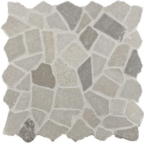 Mosaïque pierre naturelle Crush - 30x30x0.8cm - Ice grey