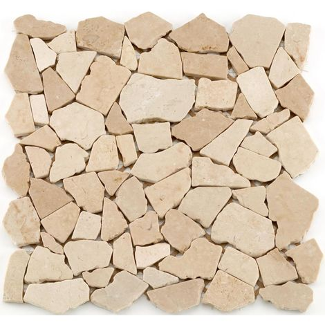 Mosaïque pierre naturelle Crush - 30x30x0.8cm - Crème