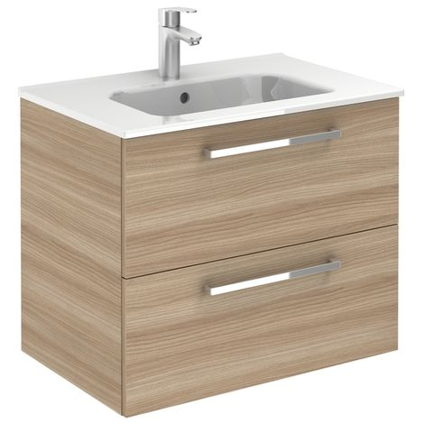 Meuble 2 tiroirs Ancoflash Color 2 avec plan céramique - Anconetti - Noyer sablé - 70cm