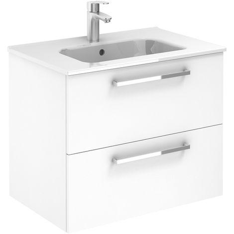 Meuble 2 tiroirs Ancoflash Color 2 avec plan céramique - Anconetti - Blanc - 70cm