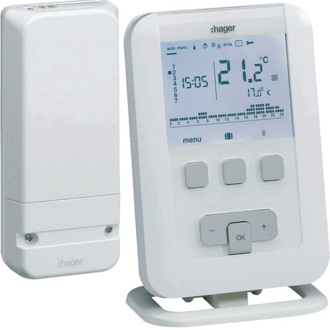 Thermostat d'ambiance programmable digital Radio EK560 - Hager