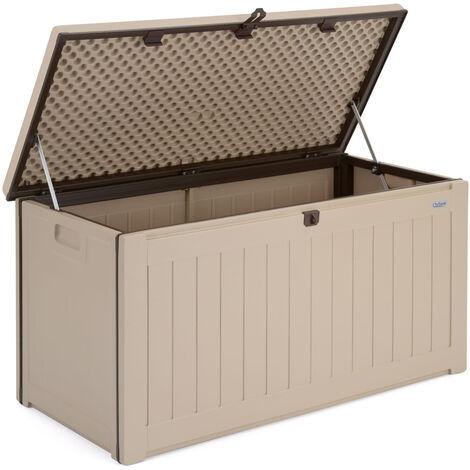 Christow Waterproof Garden Storage Box 190L - Mocha & Dark Brown