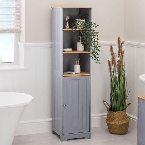 Grey & Bamboo Tallboy Cabinet