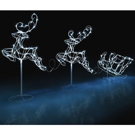 LED Flying Reindeer and Sleigh